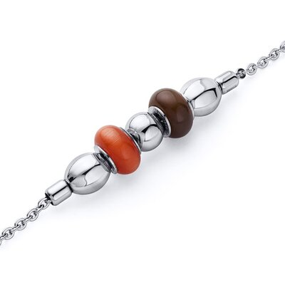 Red and Brown Roundel Bead Stainless Steel Chain Bracelet