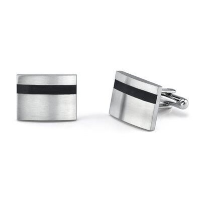 Oravo Refined Style Surgical Stainless Steel Rectangular Brushed Finish Cufflinks for Men with Black Rubber