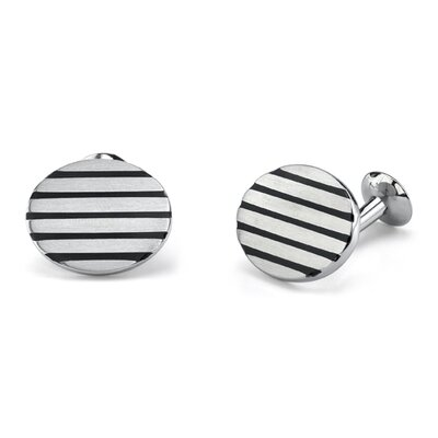 Gentleman-like Elegance Surgical Stainless Steel Oval Brushed Finish Cufflinks for Men