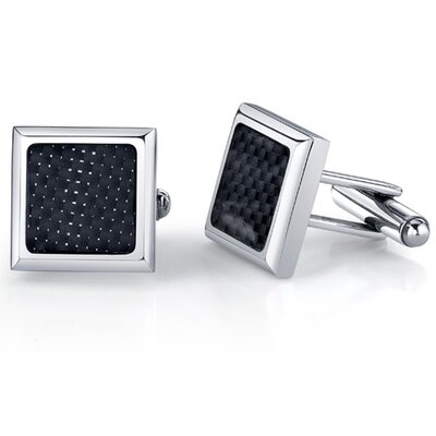Oravo Steel Tenacity Stainless Steel Square Cuff-links with Carbon Fiber for Men