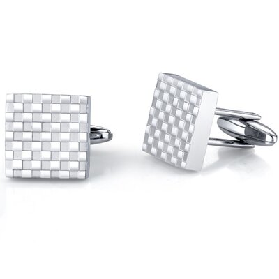 Oravo Handsome and Genteel Stainless Steel Checkerboard Square Cuff-links for Men