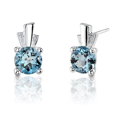 Oravo 2.00 Carats Round Shape Swiss Blue Topaz Earrings in Sterling Silver