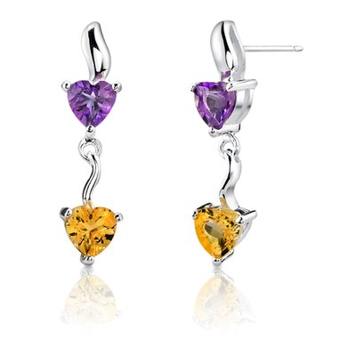 1.50 Carats Amethyst Citrine Heart Shape Earrings in Sterling Silver