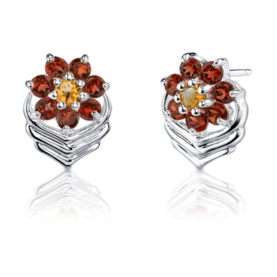 Oravo 1.50 Carats Round Cut Garnet Citrine Earrings in Sterling Silver