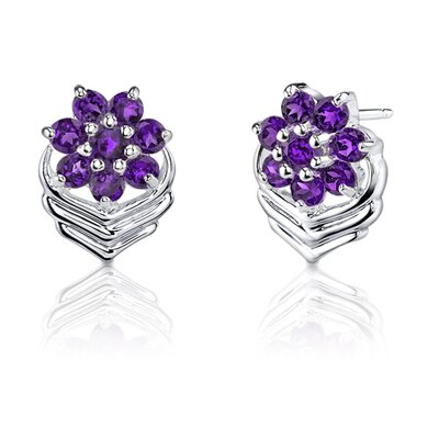 "Oravo 0.38"" 1.00 Carats Round Cut Amethyst Earrings in Sterling Silver"