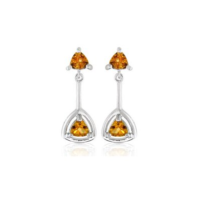 Oravo 1.54 g Trillion Cut Gemstone Dangling Earrings Sterling Silver
