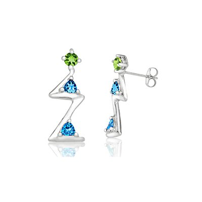 Oravo Radiant Trillion Cut Peridot London Blue Topaz Three-Stone Drop Earrings Sterling Silver