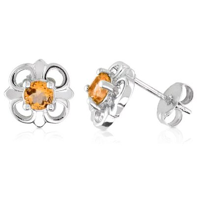 Oravo Round Cut Citrine Flower Earrings Sterling Silver
