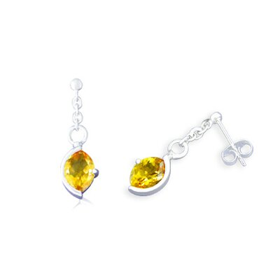 Oravo Marquise Cut Citrine Drop Earrings Sterling Silver