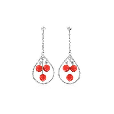 Oravo Round Peach Coral Party Loop Earrings Sterling Silver