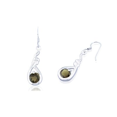 Oravo Round Cut Smoky Quartz Dangling Earrings Sterling Silver