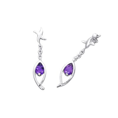 Oravo Pear Cut Gemstone Dangling Earrings Sterling Silver