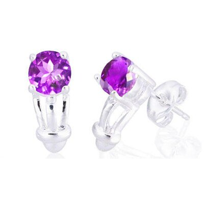 Oravo Round Cut Gemstone Earrings Sterling Silver