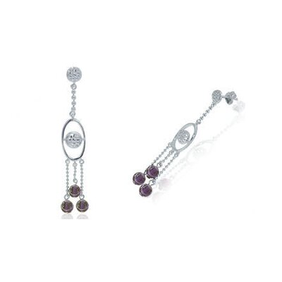 Oravo Round Amethyst Bead Chandelier Earrings Sterling Silver