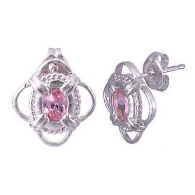 Oravo Oval Cut Pink Cz Earrings in Sterling Silver