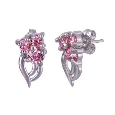 Oravo Round Cut pink Cz Three-Stone Earrings in Sterling Silver