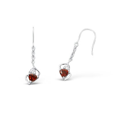 Oravo Multicut Garnet and Cubic Zirconia Dangling Earrings in Sterling Silver