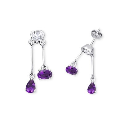 Oravo Multicut Amethyst and White Cz Dangling Earrings in Sterling Silver