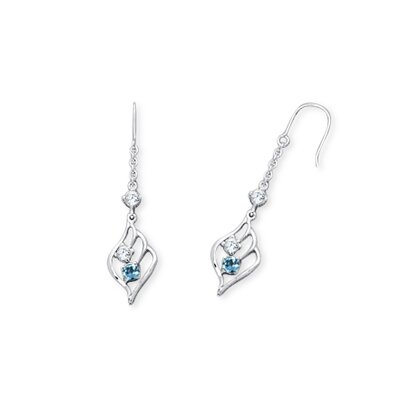 Round Cut London Blue Topaz and White Cz 3Stone Dangling Earrings in Sterling Silver
