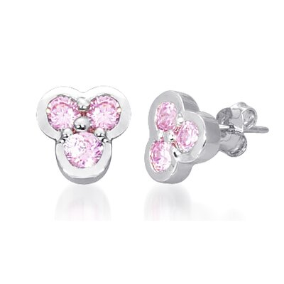 Round Cut Pink Cz Three Stone Earrings in Sterling Silver