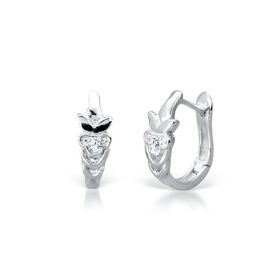 Oravo Round Cut White Cz Huggy Earrings in Sterling Silver