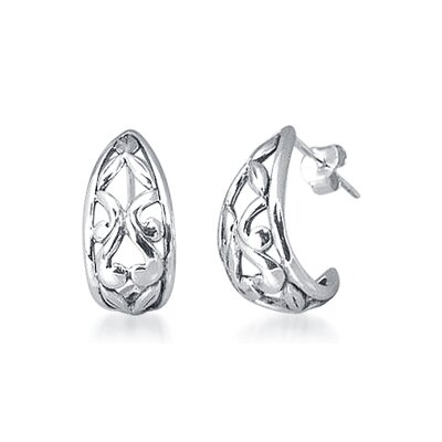 Bali Style J-hoop Earrings in Sterling Silver
