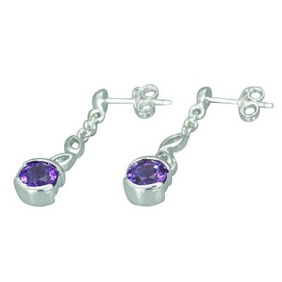 Oravo 1.50 Ct.T.W. Genuine Round Amethyst Earrings in Sterling Silver