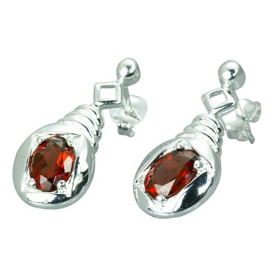 Oravo 2.00 Ct.T.W. Genuine Oval Shape Garnet Earrings in Sterling Silver
