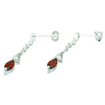 Oravo 1.50 Ct.T.W. Genuine Marquise Cut Garnet Earrings in Sterling Silver