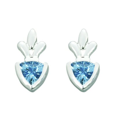 Oravo 1.50 Ct.T.W. Genuine Trillion Cut Swiss Blue Topaz Earrings in Sterling Silver