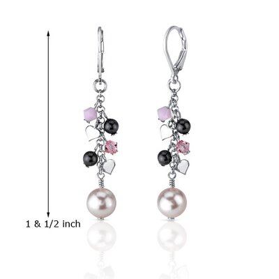 Oravo Vision of Love Drop Earrings with s and Pearls Heart Motif in Sterling Silver with Swarovski Elements