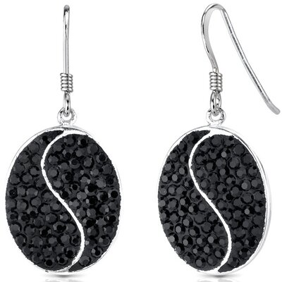 Oravo Total Eclipse and Jet Black Dangle Earrings in Sterling Silver with Swarovski Elements