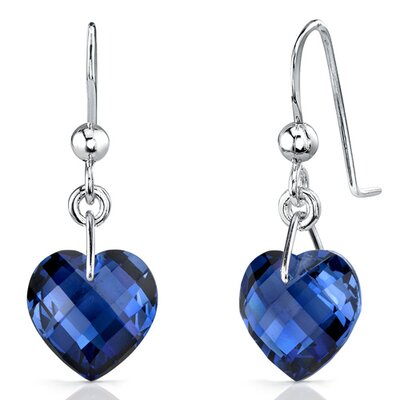 Classy 9.75 carats Heart Shape Blue Sapphire earrings in Sterling Silver