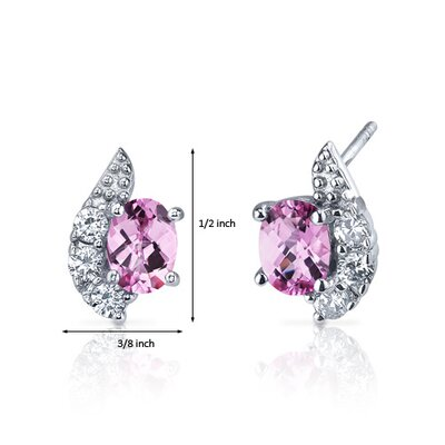 Oravo Sparkling Wave 2.00 Carats Pink Sapphire Oval Cut Cubic Zirconia Earrings in Sterling Silver