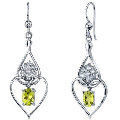 Oravo Illuminating Hearts 1.50 Carats Peridot Oval Cut Dangle Cubic Zirconia Earrings in Sterling Silver