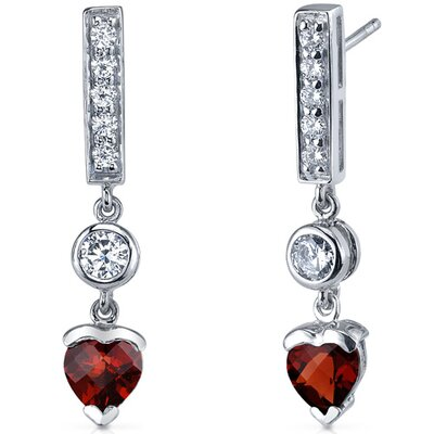 Exotic Love 2.00 Carats Garnet Heart Shape Dangle Cubic Zirconia Earrings in Sterling Silver