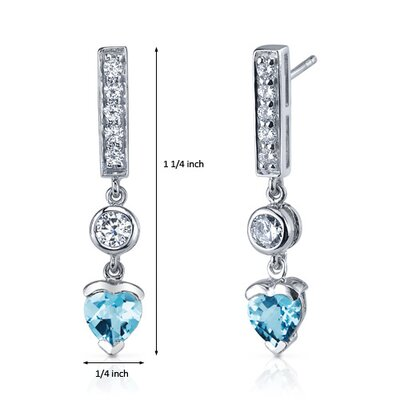 Oravo Exotic Love 1.50 Carats Swiss Blue Topaz Heart Shape Dangle Cubic Zirconia Earrings in Sterling Silver