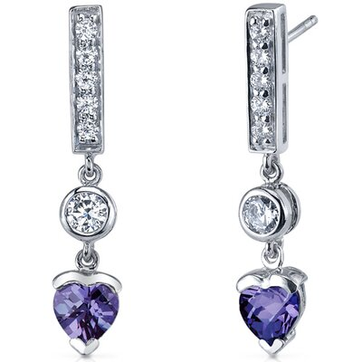 Exotic Love 2.00 Carats Alexandrite Heart Shape Dangle Cubic Zirconia Earrings in Sterling Silver