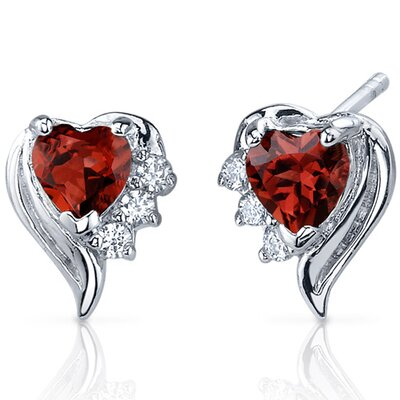 Cupids Grace 1.00 Carats Garnet Heart Shape Cubic Zirconia Earrings in Sterling Silver