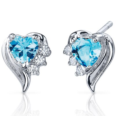 Oravo Cupids Grace 1.00 Carats Swiss Blue Topaz Heart Shape Cubic Zirconia Earrings in Sterling Silver