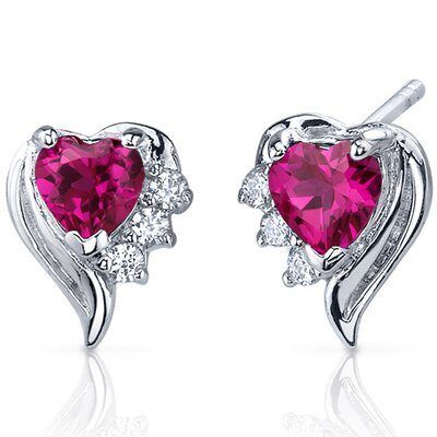Cupids Grace 1.50 Carats Ruby Heart Shape Cubic Zirconia Earrings in Sterling Silver