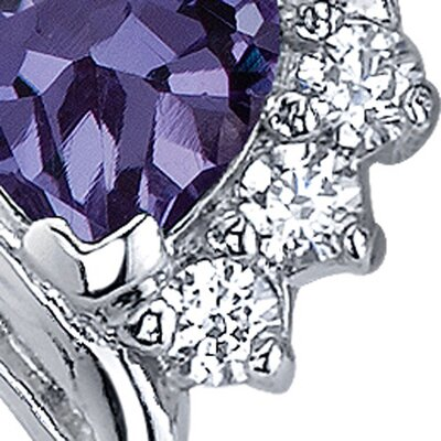 Oravo Cupids Grace 1.50 Carats Alexandrite Heart Shape Cubic Zirconia Earrings in Sterling Silver