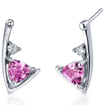Oravo Modern Sophistication 2.00 Carats Pink Sapphire Trillion Cut Cubic Zirconia Earrings in Sterling Silver