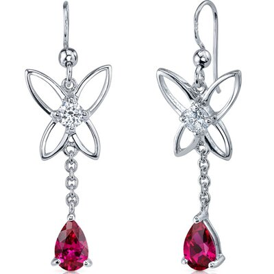 Butterfly Design 2.00 Carats Ruby Pear Shape Dangle Cubic Zirconia Earrings in Sterling Silver