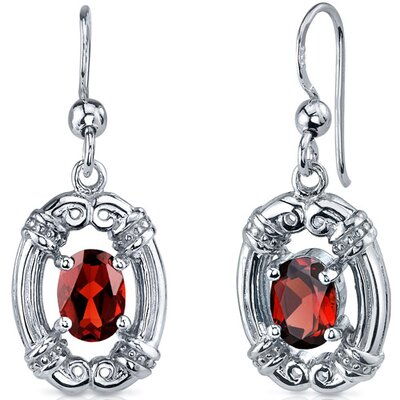 Antique Style 2.00 Carats Garnet Oval Cut Dangle Cubic Zirconia Earrings in Sterling Silver