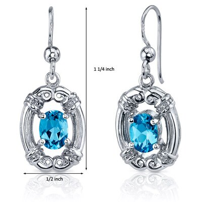 Oravo Antique Style 2.00 Carats Swiss Blue Topaz Oval Cut Dangle Cubic Zirconia Earrings in Sterling Silver