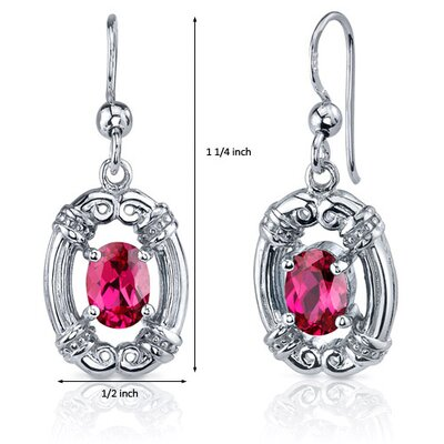 Oravo Antique Style 2.00 Carats Ruby Oval Cut Dangle Cubic Zirconia Earrings in Sterling Silver