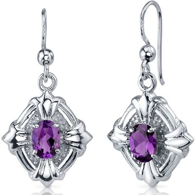 Victorian Design 1.50 Carats Gemstone Oval Cut Dangle Cubic Zirconia Earrings in Sterling Silver