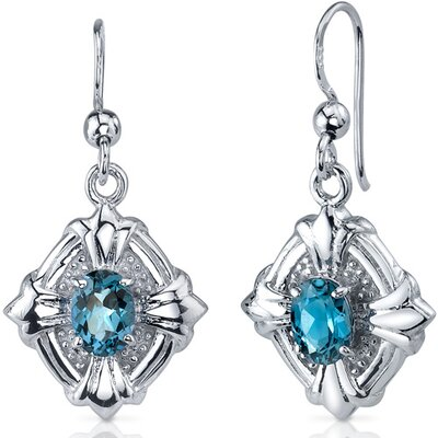Victorian Design 1.50 Carats London Blue Topaz Oval Cut Dangle Cubic Zirconia Earrings in ...