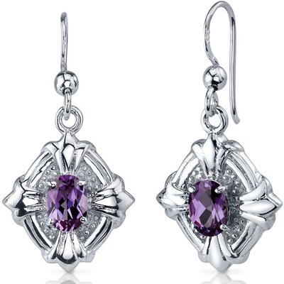 Victorian Design 2.00 Carats Alexandrite Oval Cut Dangle Cubic Zirconia Earrings in Sterling Silver